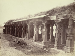 Exterior view of front corridor of old math or monastery, Lonar, Buldana District, Berar